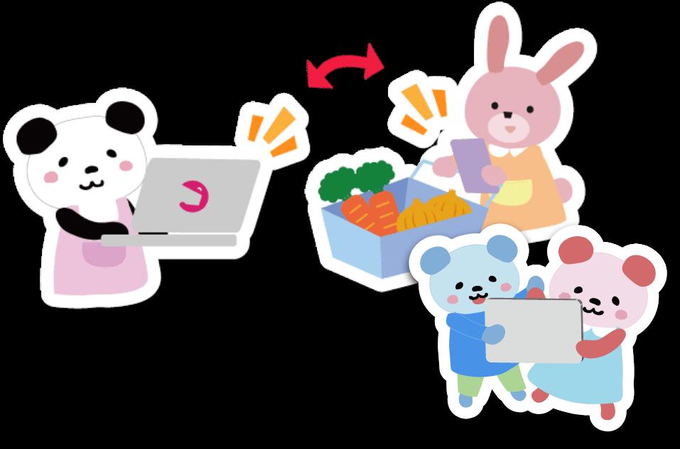 パソコンを操作するパンダと、お買い物をするウサギ