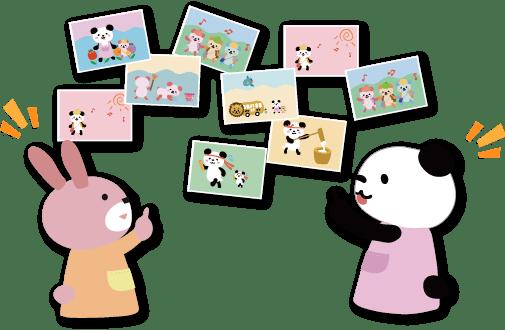 写真を眺めるクマとウサギのイラスト